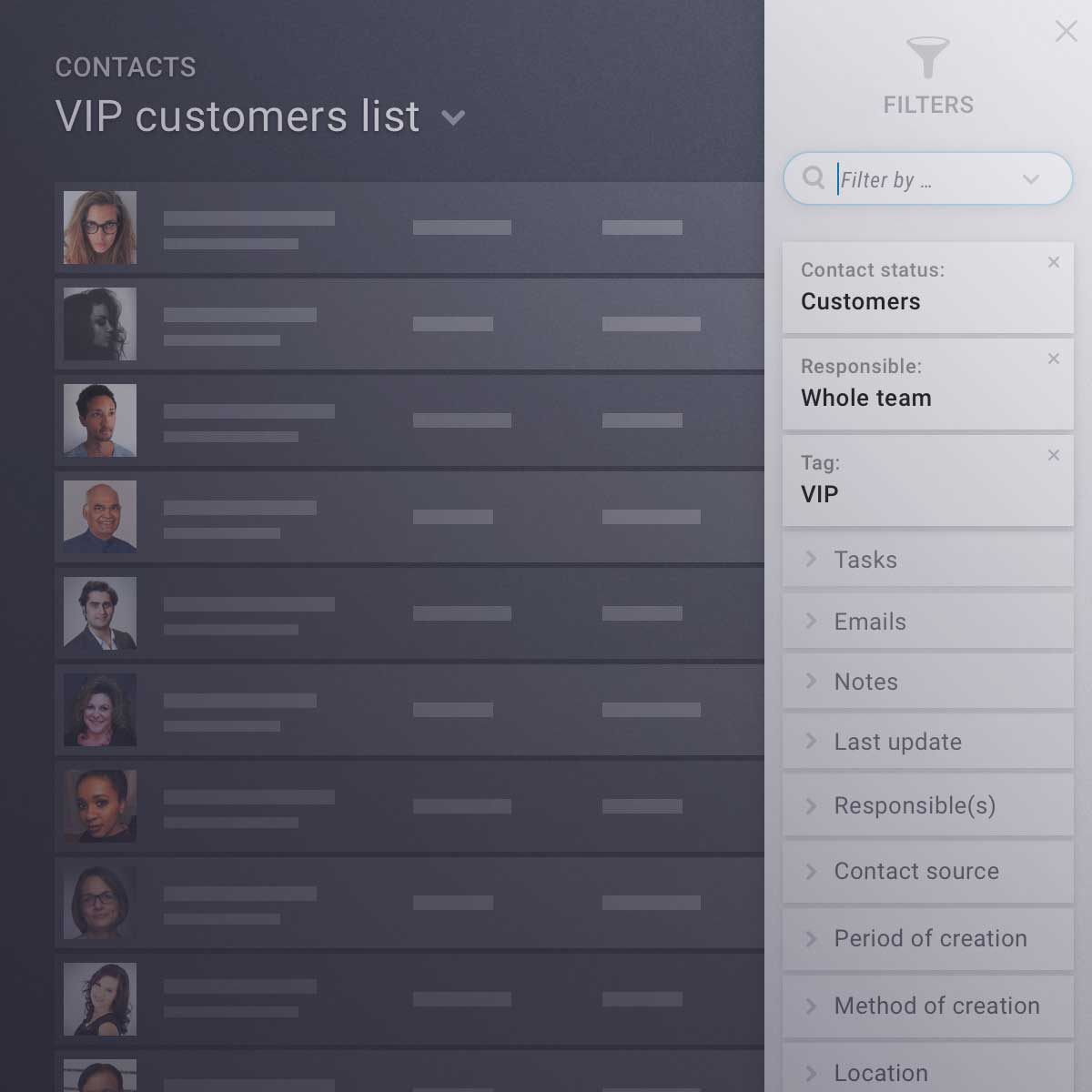 Manage, filter and segment your contacts